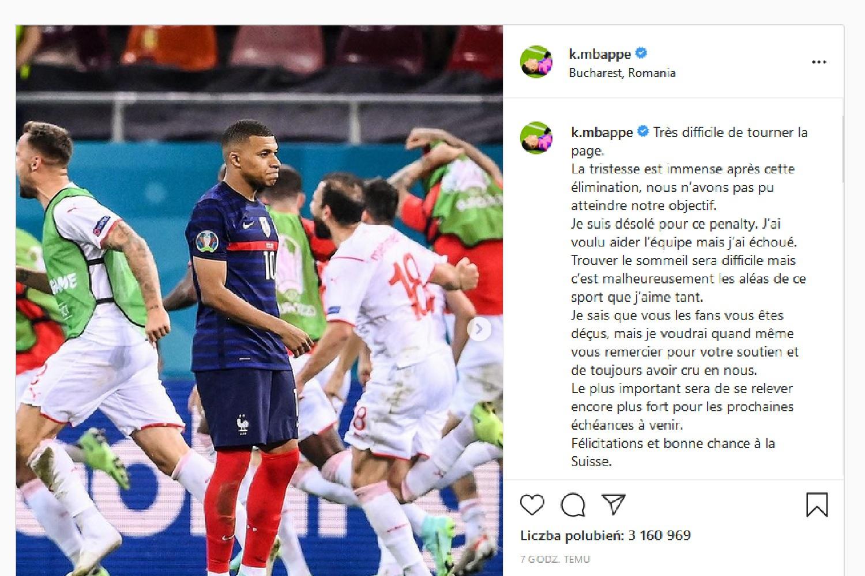 EURO 2020: Kylian Mbappé z wiadomością dla kibiców po odpadnięciu z Mistrzostw Europy